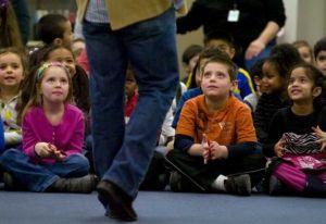 Speaking to elementary school students