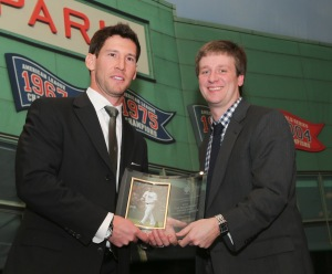 Wakefield Community Service Award winner Craig Breslow, left, accepts his award from chapter chairman Tim Britton at the 75th annual Boston Chapter of the Baseball Writers Association of America (BBWAA) Awards Dinner at Westin Copley Place Hotel on Thursd