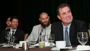 From right, Boston Red Sox manager John Farrell, Red Sox outfielder Jonny Gomes, Red Sox pitcher Craig Breslow and New York Mets pitcher Matt Harvey listen as Baseball Hall of Famer and Judge Emil Fuchs Award winner Tom Glavine speaks at the 75th annual B